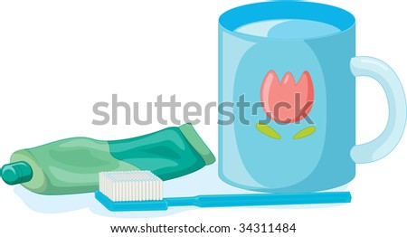 illustration of tooth paste brush and mug on white - vector EPS of this image also available in my portfolio