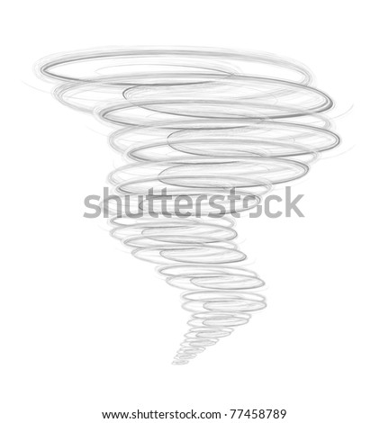 Illustration of tornado, as a natural disaster  on white - stock photo