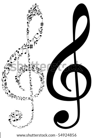 Illustration of tow G clef and music notes - stock photo
