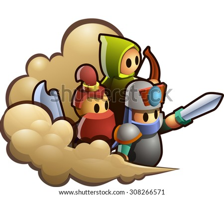 Illustration of toy warriors in the clouds of dust ready to attack