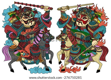 """illustration of traditional Chinese Pattern and Drawing """"Door guardians"""" - stock photo"""
