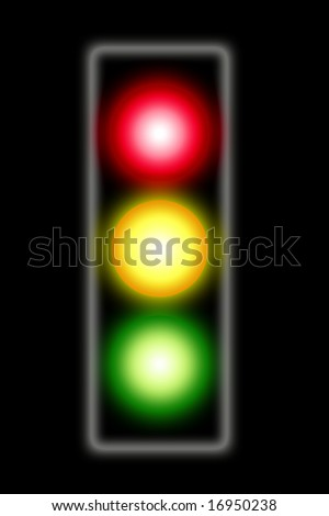 Illustration of traffic light on black background