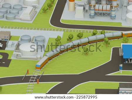 Illustration of train transportation of oil, transporting gas or oil on land station. - stock photo