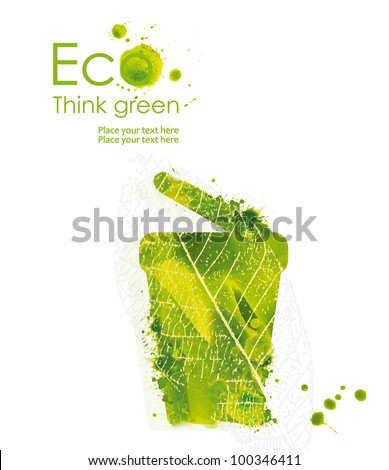 Illustration of trash from hand drawn watercolor stains isolated on a white background. Think Green. Ecology Concept. - stock photo
