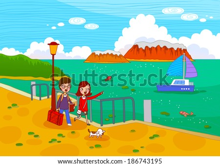 Illustration of travel tourists
