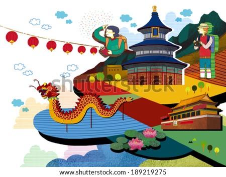 Illustration of traveling to Asia - stock photo