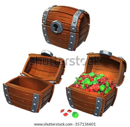 Illustration of treasure chest icon in locked, empty, and open positions - stock photo