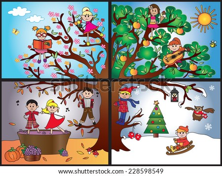Illustration of tree representing the four seasons: spring, summer, autumn, winter. - stock photo