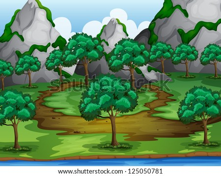 Illustration of trees and moutains in a beautiful nature - stock photo