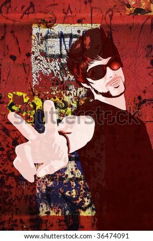 Illustration of trendy guy over grunge texture background - stock photo