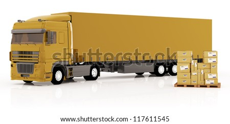 Illustration of truck and boxes on white background - stock photo