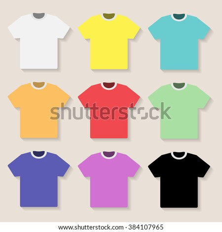 Illustration of Tshirt on a light background. Set,  - stock photo