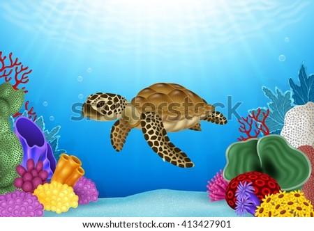 Illustration of Turtle with beautiful underwater world - stock photo