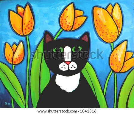 Illustration of Tuxedo Cat in Tulips - stock photo