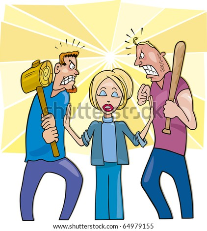 Illustration of two angry men going to fight and calm woman peacemaker - stock photo