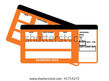 Illustration of two blank airline boarding pass tickets, isolated on white background.