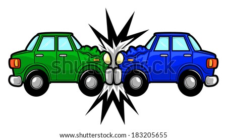 Illustration of two cars involved in a car wreck - stock photo