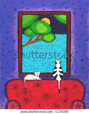 Illustration of Two Cats and moonlight - stock photo