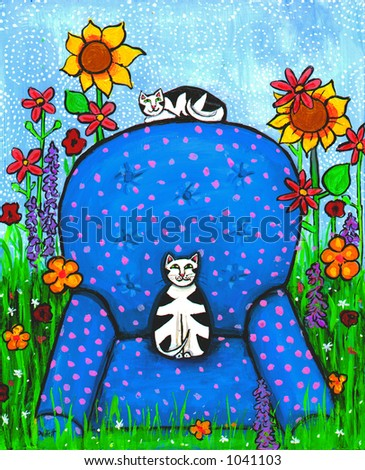 Illustration of two cats on a comfy armchair - stock photo