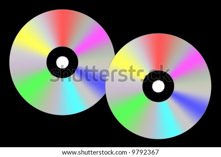 Illustration of two cds on a black background