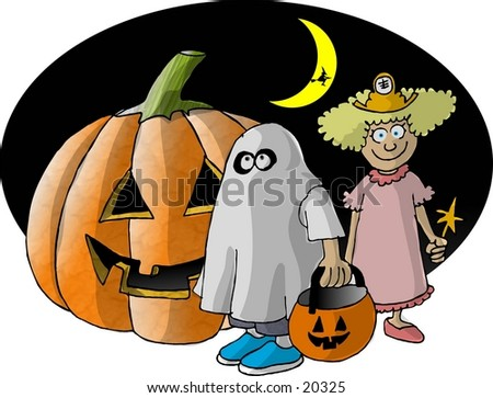 Illustration of two children in Halloween costumes standing by a large pumpkin.