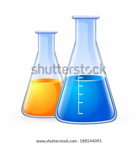 Illustration of two conical flask against white background