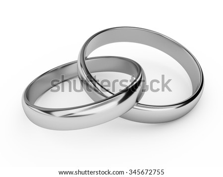 Illustration of two connected silver wedding rings - stock photo