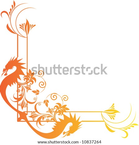 Illustration of two dragons in floral frame
