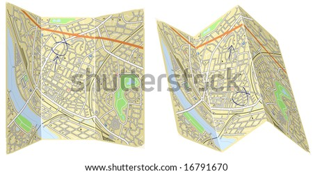Illustration of two folded generic maps with no names - stock photo