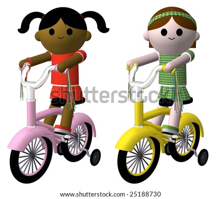 Illustration of two girls riding bikes