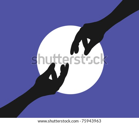 Illustration of two hands reaching - stock photo