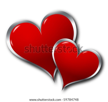 Illustration of two hearts on a white background - stock photo