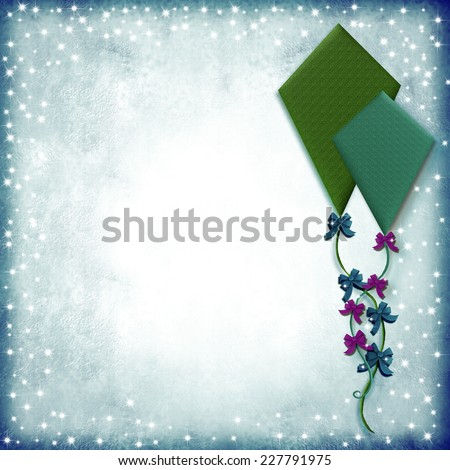 Illustration of two kites on paper starry background with space for writing text or photo - stock photo