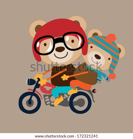 illustration of two little animal riding on motorcycle - stock photo