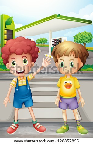 Illustration of two little boys near the gasoline station
