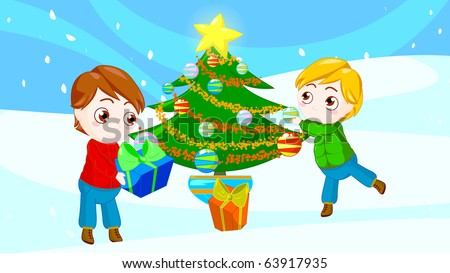 illustration of two little boys preparing to spend Christmas together - stock photo