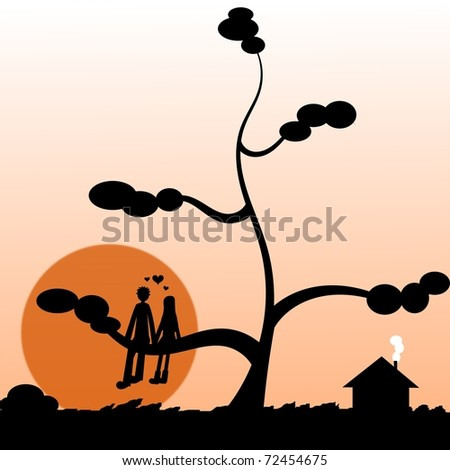 Illustration of two lovers on a tree looking the sunset