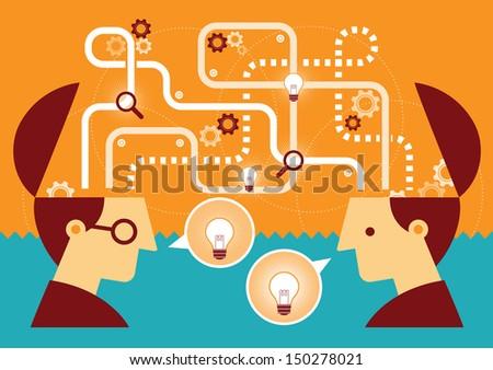 Illustration of two man talking ideas - stock photo