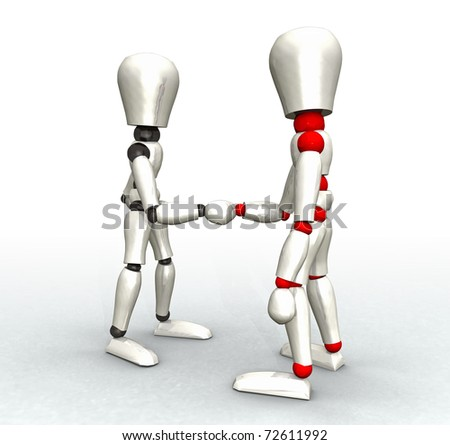 illustration of two mannequins of white color being given a handshake