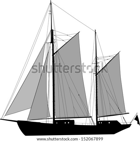 Illustration of two masted sailing ship ketch - stock photo