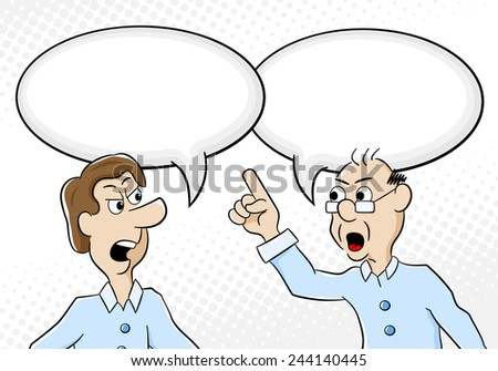 illustration of two men are of different opinion with empty speech bubbles - stock photo