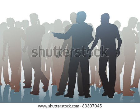 Illustration of two men working together as pickpockets - stock photo