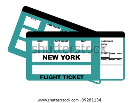 Illustration of two New York flight tickets, isolated on white background.