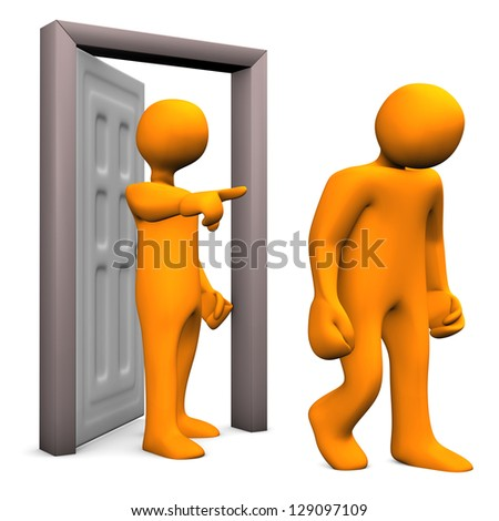 Illustration of two orange cartoon characters and a frontdoor. - stock photo