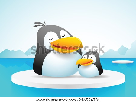 Illustration of two penguins on ice - stock photo
