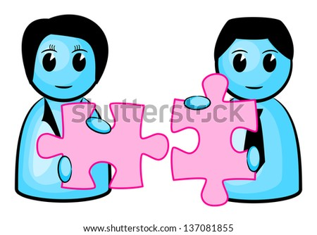 illustration of two people with matching puzzle pieces - stock photo