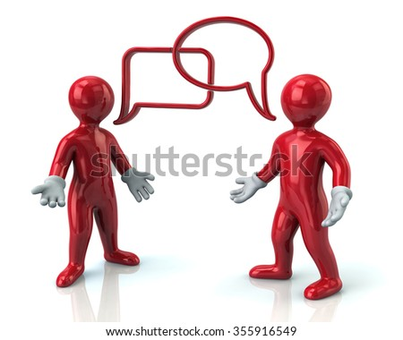 Illustration of two red men discussing - stock photo