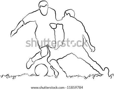 Illustration of two soccer player - stock photo