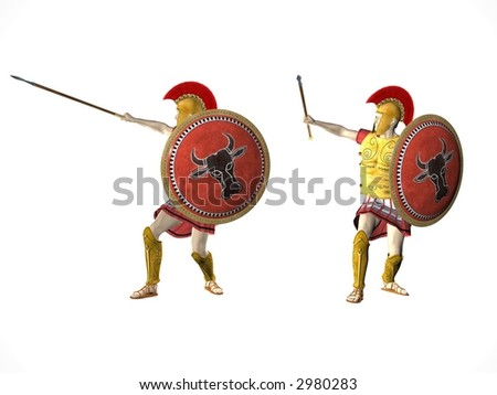 Illustration of two Spartan warriors advancing isolated on white - stock photo