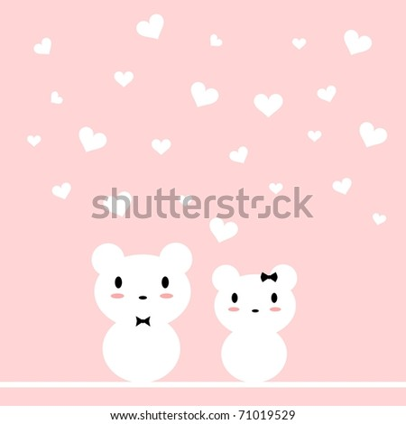 Illustration of two sweet white bears in love